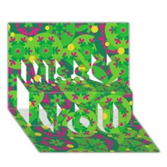 Christmas decor - green Miss You 3D Greeting Card (7x5)