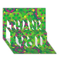 Christmas decor - green THANK YOU 3D Greeting Card (7x5)