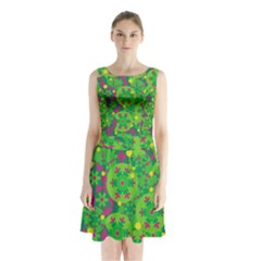 Christmas decor - green Sleeveless Chiffon Waist Tie Dress