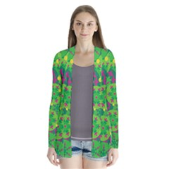 Christmas Decor   Green Drape Collar Cardigan