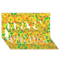 Christmas decor - yellow Best Wish 3D Greeting Card (8x4)