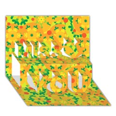 Christmas Decor   Yellow Miss You 3d Greeting Card (7x5)