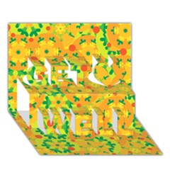 Christmas decor - yellow Get Well 3D Greeting Card (7x5)
