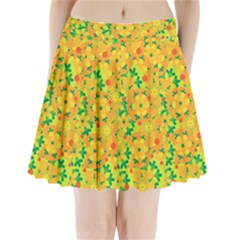 Christmas Decor   Yellow Pleated Mini Skirt
