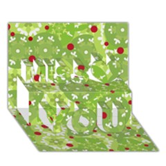Green Christmas decor Miss You 3D Greeting Card (7x5)