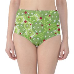 Green Christmas decor High-Waist Bikini Bottoms