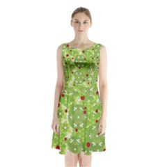 Green Christmas Decor Sleeveless Chiffon Waist Tie Dress