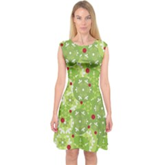 Green Christmas decor Capsleeve Midi Dress