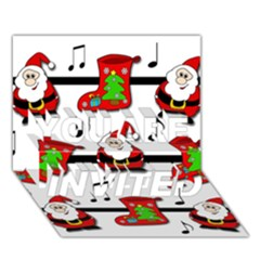 Christmas song YOU ARE INVITED 3D Greeting Card (7x5)