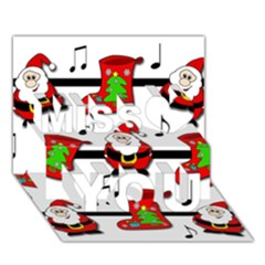 Christmas song Miss You 3D Greeting Card (7x5)