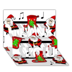 Christmas song THANK YOU 3D Greeting Card (7x5)