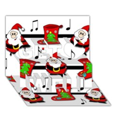 Christmas song Get Well 3D Greeting Card (7x5)