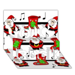 Christmas song You Rock 3D Greeting Card (7x5)
