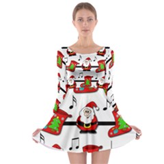 Christmas song Long Sleeve Skater Dress