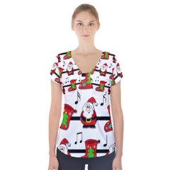 Christmas song Short Sleeve Front Detail Top