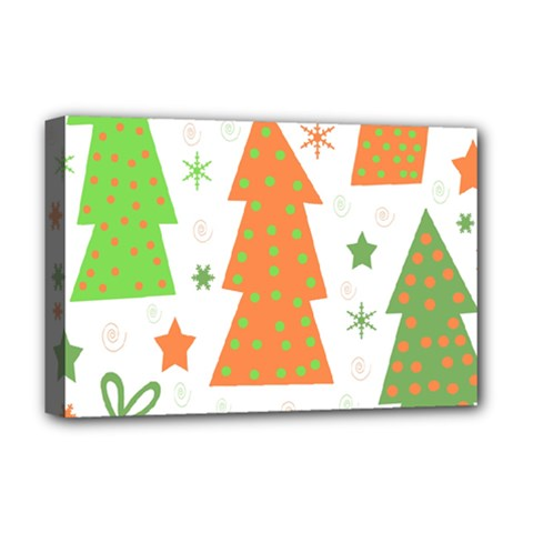 Christmas design - green and orange Deluxe Canvas 18  x 12