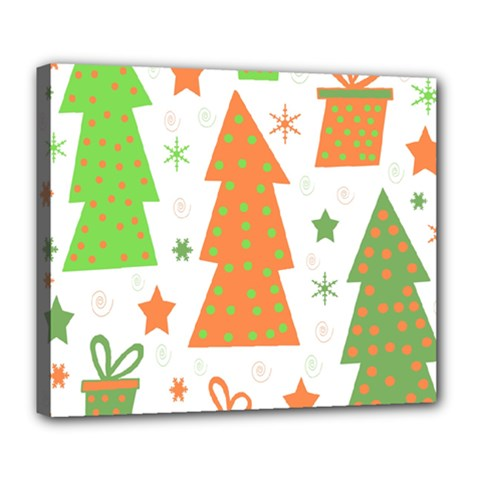 Christmas design - green and orange Deluxe Canvas 24  x 20