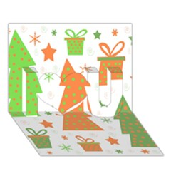 Christmas design - green and orange I Love You 3D Greeting Card (7x5)