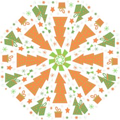 Christmas design - green and orange Hook Handle Umbrellas (Large)