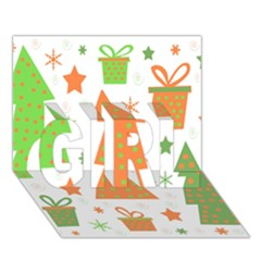 Christmas design - green and orange GIRL 3D Greeting Card (7x5)