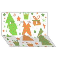 Christmas design - green and orange Twin Hearts 3D Greeting Card (8x4)
