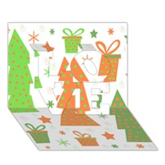 Christmas design - green and orange LOVE 3D Greeting Card (7x5)