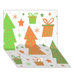 Christmas design - green and orange Heart Bottom 3D Greeting Card (7x5)