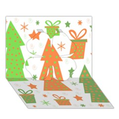 Christmas design - green and orange Clover 3D Greeting Card (7x5)