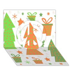 Christmas design - green and orange Peace Sign 3D Greeting Card (7x5)