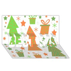 Christmas design - green and orange BEST SIS 3D Greeting Card (8x4)