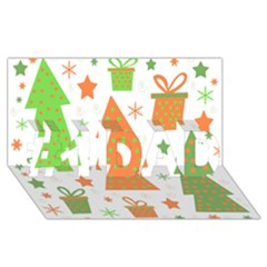 Christmas design - green and orange #1 DAD 3D Greeting Card (8x4)