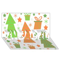 Christmas design - green and orange ENGAGED 3D Greeting Card (8x4)