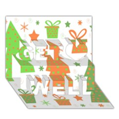 Christmas design - green and orange Get Well 3D Greeting Card (7x5)