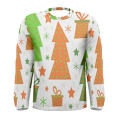 Christmas design - green and orange Men s Long Sleeve Tee