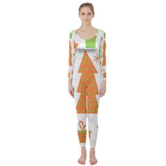 Christmas design - green and orange Long Sleeve Catsuit