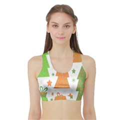 Christmas design - green and orange Sports Bra with Border