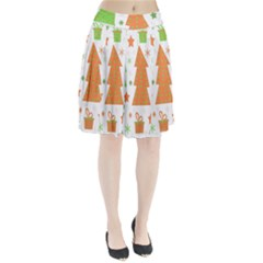Christmas design - green and orange Pleated Skirt