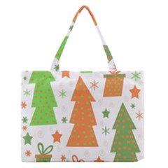 Christmas Design   Green And Orange Medium Zipper Tote Bag