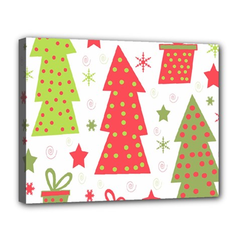 Christmas design - green and red Canvas 14  x 11