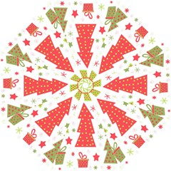 Christmas design - green and red Folding Umbrellas