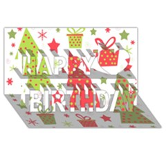 Christmas design - green and red Happy Birthday 3D Greeting Card (8x4)