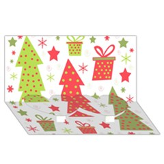 Christmas design - green and red Twin Heart Bottom 3D Greeting Card (8x4)
