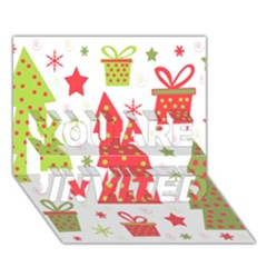 Christmas design - green and red YOU ARE INVITED 3D Greeting Card (7x5)