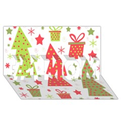 Christmas design - green and red #1 MOM 3D Greeting Cards (8x4)