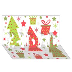 Christmas design - green and red #1 DAD 3D Greeting Card (8x4)