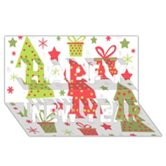 Christmas design - green and red Happy New Year 3D Greeting Card (8x4)