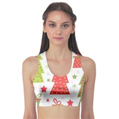 Christmas design - green and red Sports Bra