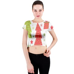 Christmas design - green and red Crew Neck Crop Top