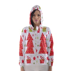 Christmas design - green and red Hooded Wind Breaker (Women)