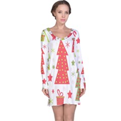 Christmas design - green and red Long Sleeve Nightdress